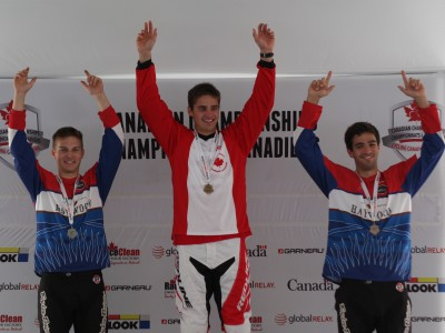 Tory Nyhaug on the Podium at the 2014 Canadian BMX Championships. Photo by Guy Napert-Frenette / Cycling Canada.
