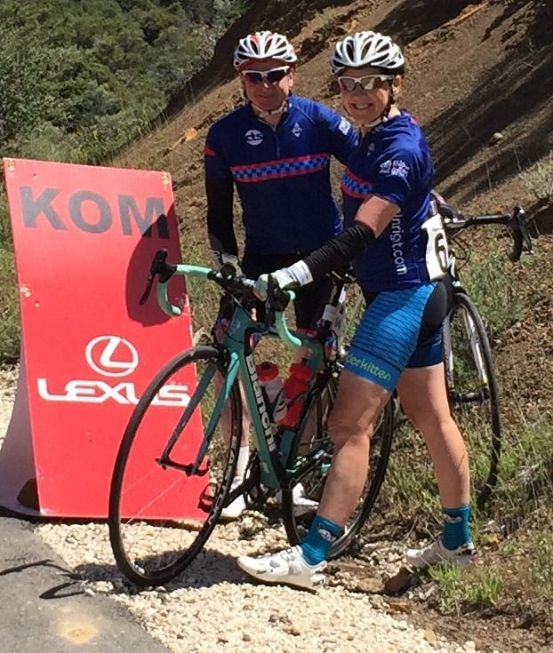 Barb Morris with James Ingham at the finish line of the  Tour of California Stage #3 Etape