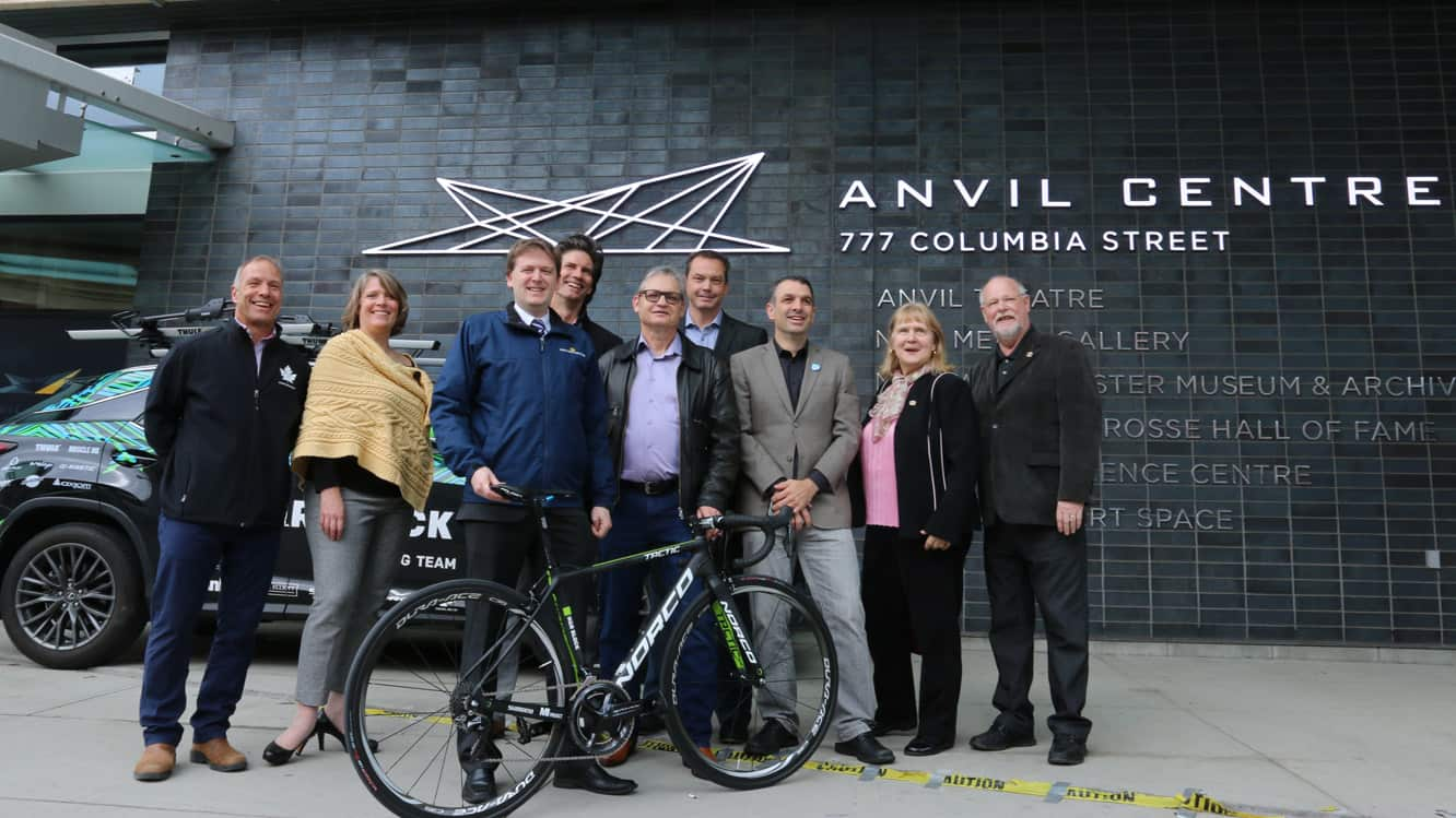 New Westminster mayor Jonathan Coté and members of council get a close-up look at a professional racing bike with the help of Pierre Lafontaine, the CEO of Cycling Canada, Erin Waugh, the Exectuive Director of Cycling BC, John Tolkamp, the President of Cycling Canada, and Mark Ernsting, the Director of BC Superweek, at the launch of the New West Grand Prix. The race, scheduled for July 11 in the city's Downtown, is the latest addition fo the BC Superweek series of races around Metro Vancouver.