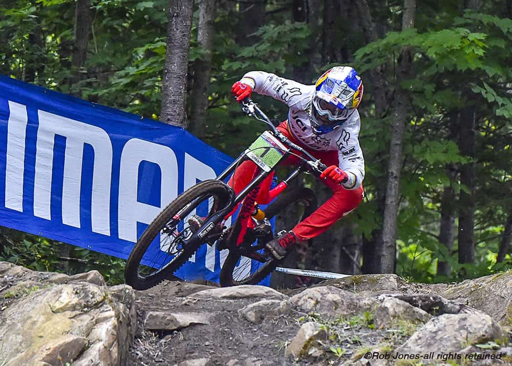 Finn Iles takes his fifth Junior Men win in the 2017 Downhill World Cup at Mont Sainte Anne. Photo © Rob Jones / Canadian Cyclist