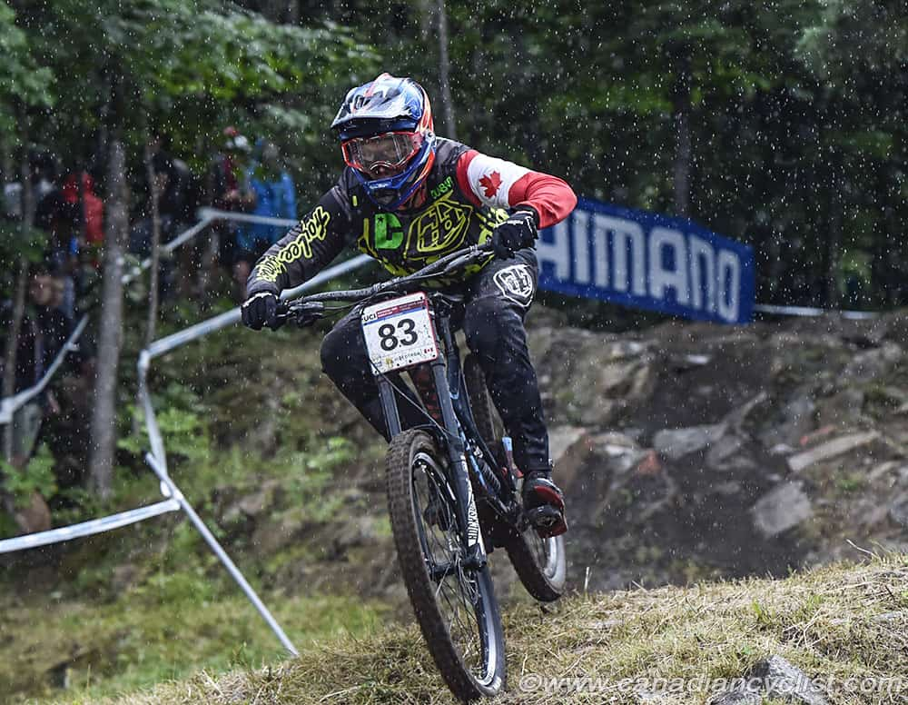 Kirk McDowall finishes 12th in the Elite men at the 2017 Downhill World Cup at Mont Sainte Anne. Photo © Rob Jones / Canadian Cyclist