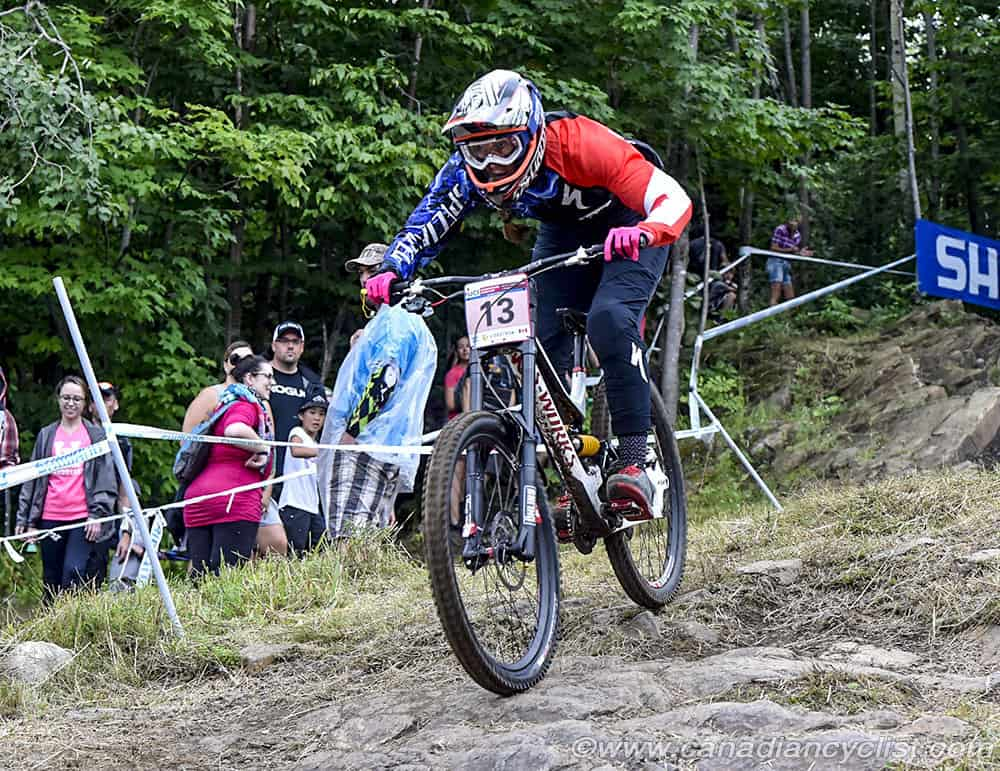Miranda Miller finished with the top Canadian spot in the Elite women's race at the 2017 Downhill World Cup at Mont Sainte Anne. Photo © Rob Jones / Canadian Cyclist