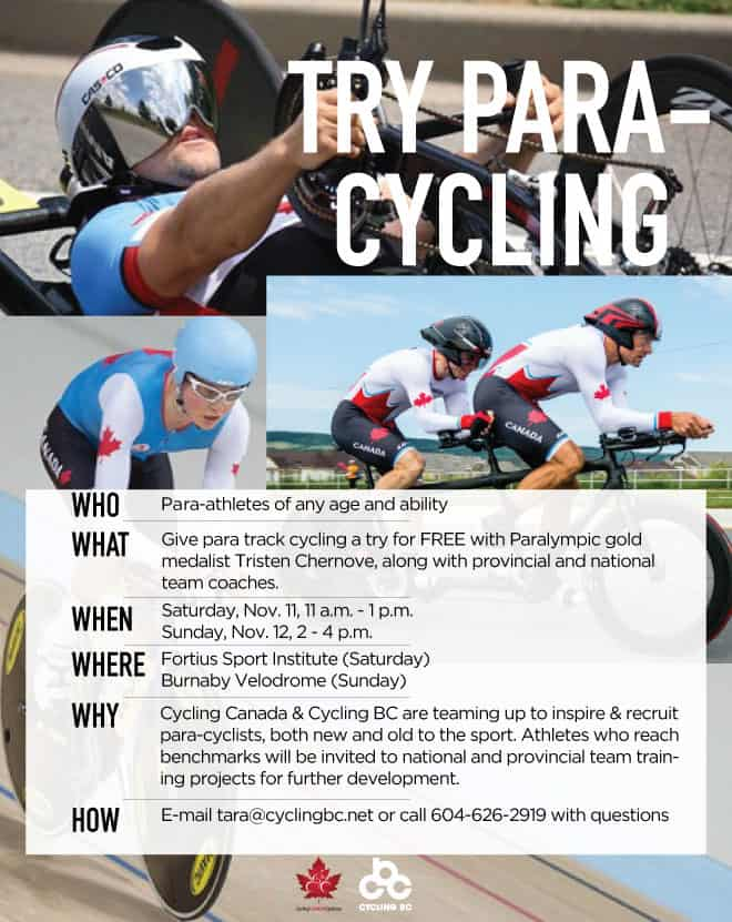 Cycling BC Para Cycling ID camp poster