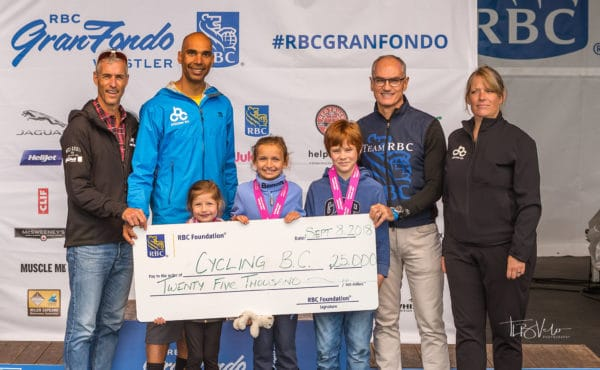 Whistler GranFondo RBC cheque presentation to Cycling BC