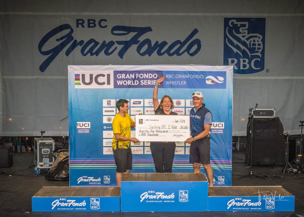 Cycling BC presented with a ceremonial cheque for a $10,000 donation from RBC Foundation at the 2019 RBC GranFondo Whistler stage.