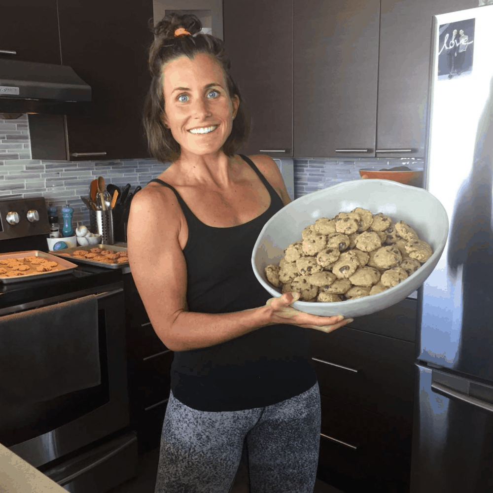 Steph Corker holding a big bowl of cookies