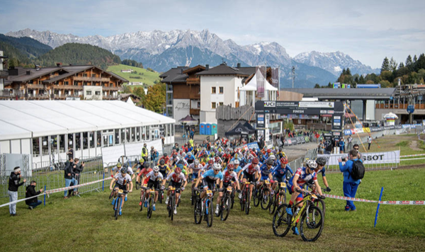 Start line of the 2020 MTB World Championships u23 men's XCO in Austria
